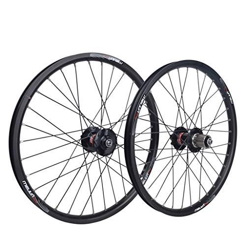 MZPWJD Coppia Ruote Bici da 20 Pollici Cerchio in Lega A Doppia Parete Freno A Disco Cuscinetto Sigillato QR 8/9/10 velocità Hub per Schede per BMX Bicicletta Pieghevole 32H (Color : Black)