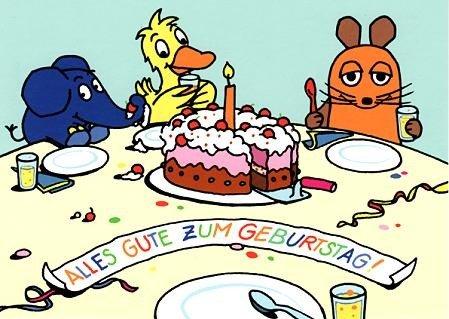 Die Maus GeburtstagsPOSTkarte Geburtstagstisch
