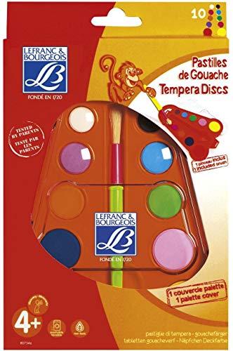 Lefranc Bourgeois Education - Loisir Créatif - Boite Triangulaire 10 Pastilles + 1 Pinceau Education