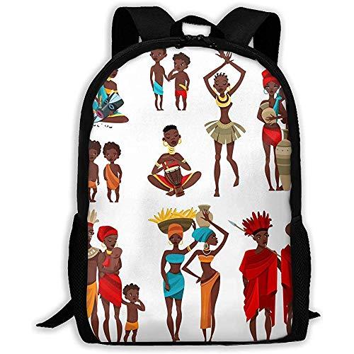 Disfraz Africano Unisex Adulto Mochila Personalizada, Escuela Casual Bolsas de Libros Deportivos, Durable Oxford Outdoor College Laptop Bags