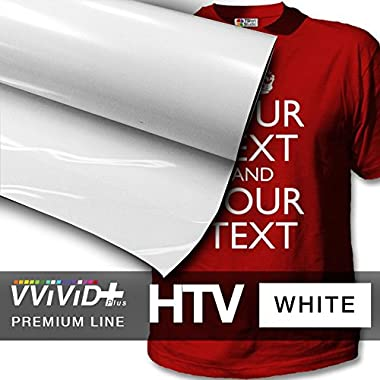 VVIVID+ White Premium Line Heat Transfer Vinyl Film for Cricut, Silhouette & Cameo (12  x 36  (3ft))
