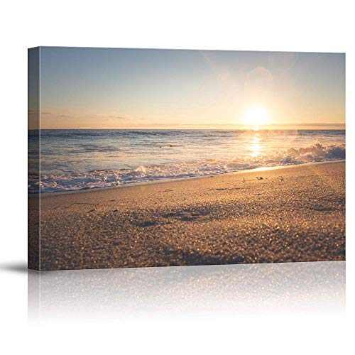 NWT Canvas Wall Art Sunset Beach Sea Painting Artwork for Home Prints Framed - 16x24 inches