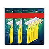 30 cepillos interdentales (0,6 mm a 1,2 mm), fácil y simple limpieza interespacial, con mango largo y cuello en ángulo.