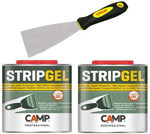 Camp STRIP GEL, Kit 2 pz Sverniciatore professionale in gel per legno, ferro e muro con Spatola 60mm