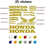 Kit Adesivo Moto Vinile 7 Anni Tagliato Compatibile con Honda CBR 600 RR Contiene 25 Adesivi (Oro)