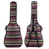 ZHRUNS Guitar Bag Bohemian Acoustic Guitar Case Soft Foam Padded 40/41 Inch Guitar Gig Gag Backpack with Neck Protector Pillow Pad,Dual Shoulder Strap&pocket (Colorful pattern)