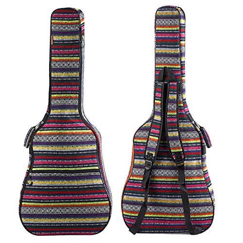 ZHRUNS Guitar Bag Bohemian Acoustic Guitar Case Soft Foam Padded 40/41 Inch Guitar Gig Gag Backpack...