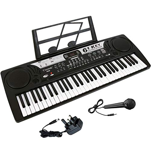 61 Key Electronic Keyboard Digital Piano Workstation MP3 Music Instrument With Microphone, USB Port by Crystals
