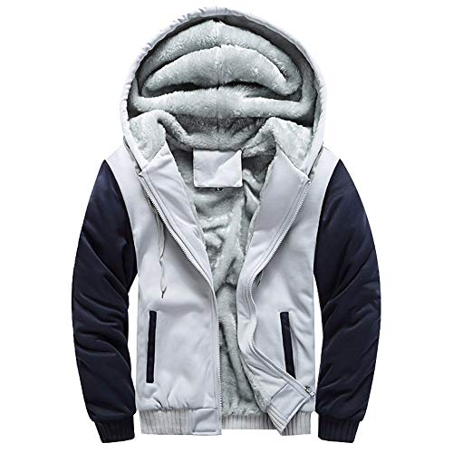 MRULIC Herren Hoodie Pullover Winter Warme Fleece Jacke Zipper Sweater Jacke Outwear Mantel RH-054 (EU-54/CN-5XL, Y2-Grau)