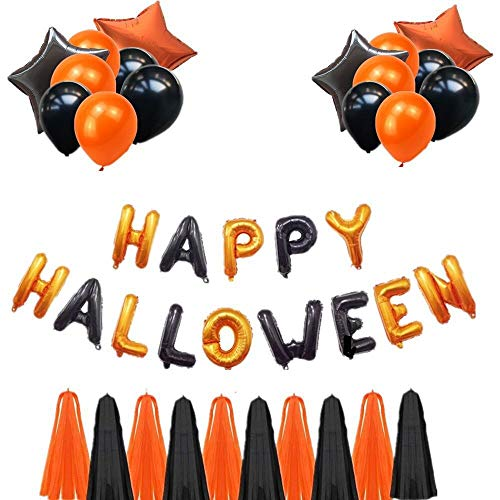 Halloween Balloon Set with Card and Tasseled Letter Balloon Set Party Decoration Halloween Holiday Dress Up to Heighten The Festive Atmosphere