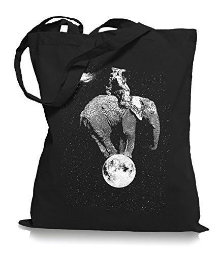 Ma2ca Space Elephant Stoffbeutel | Astronaut Tragetasche Mond All-black