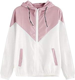 Women's Hooded Jackets,💖LuluZanm Sales! Ladies Long Sleeve Patchwork Thin Outerwear Zipper Pockets Sport Coat