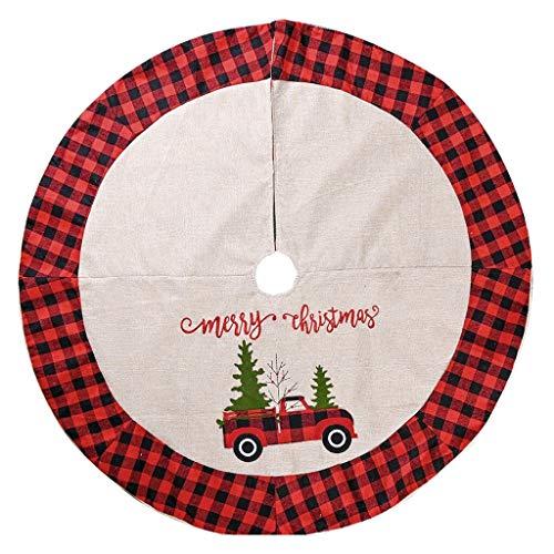 GSDJU Falda de árbol, cubierta de base, Año Nuevo, decoración de vacaciones, alfombra para el hogar, fiesta, adornos de Navidad de 122 cm, falda de árbol a cuadros, doble capa, decoración del hogar