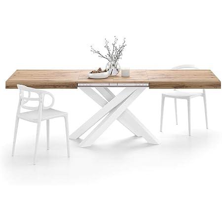 MOBILI FIVER, Table Extensible Emma avec Pieds Blancs croisés 160, Bois Rustique, Mélaminé/Fer, Made in Italy