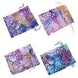 Immagine 2 100 multicolore sacchetti organza 9x12cm