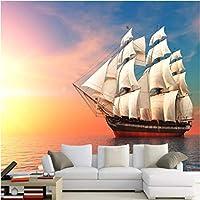 Iusasdz カスタム3D壁壁画カラースカイヨット海辺の風景写真壁紙リビングルームホテルの背景壁布防水3D-400X280Cm