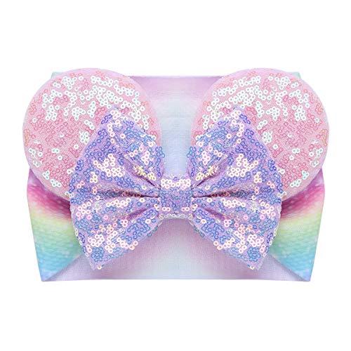 Agoky Baby Beanie Mütze mit Pailletten Maus Ohren und Schleife Weiche Kappe Kopfabdeckung Regenbogen One Size