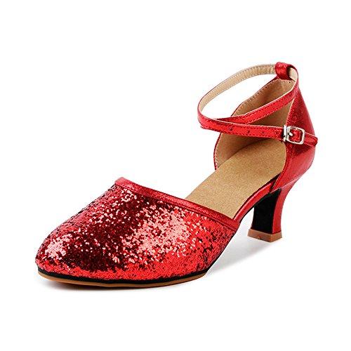 OCHENTA Damen Tanzschuhe Pumps Latin Schuhe Gesellschaftstanz Schuhe hochhackig Pailletten Sexy Samt Rot Asiatisch 38/EU 37,5
