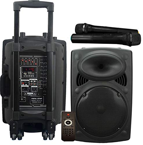 Vocal-Star Portable PA Speaker System with Bluetooth, Bass & Treble, USB &...