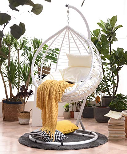 Cherry Tree Furniture BREEZE White Rattan Effect Hanging Egg Chair/Swing Seat