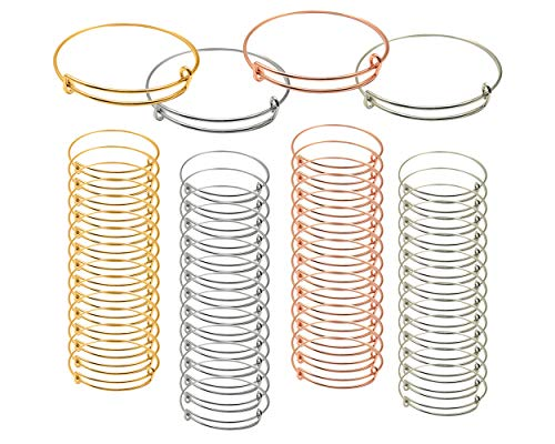 SCSpecial Braccialetti espandibili per Braccialetti 60 Pezzi Braccialetti Regolabili in Filo Metallico per Creare Braccialetti Vuoti