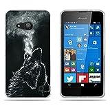 Fubaoda Nokia Lumia 550 Hülle,[Wölfe] Anti-Dropping PC Handy-Tasche Back-Cover Ultra Slim Weich Silikon Transparent Designs Schutzhülle für Nokia Lumia 550