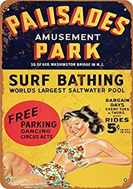 UUND 1956 Palisades Amusement Park Wall Plaque Sign 8X12 Inch
