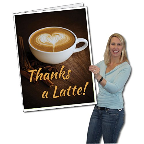 VictoryStore Jumbo Greeting Cards: 2' x 3' Giant Card, Thank You Card, Thanks A Latte! Card with Envelope