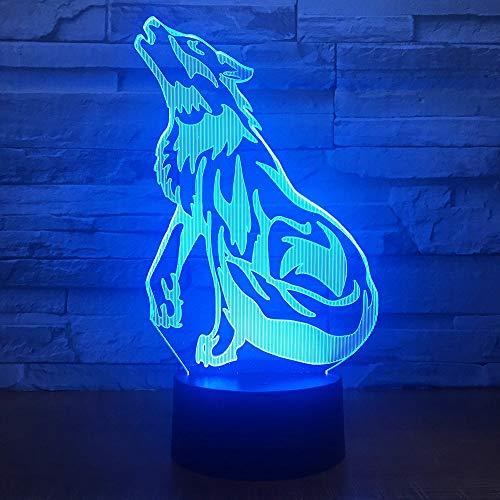 vhidfsjgdsfik Heulender Wolf des Nachtlichts 3D LED, mit 7 Farben der Beleuchtung für Inneneinrichtungslichter, erstaunliche Sichteffekte, optische Täuschung