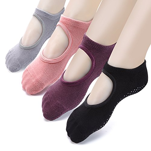 Yoga Socks Non Slip Skid Pilates Ballet Barre with Grips for Women Girls 4 Pack by Cooque (yoga socks-4 pack)