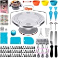 112 Pcs Cake Decorating Supplies kit with Metal Cake Turntable-57 Icing Tips,Baking Cups,Icing Spatulas,Cake Decorating Kit with Storage Box, Baking Supplies for Beginner and Cake-Lover