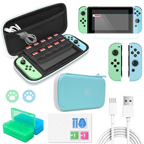 FYOUNG Kit di Accessori Switch, Kit di Protezione Essenziale 12 in 1 con Custodia per Il Trasporto, Protezione per Lo Schermo, Cover in Silicone per Joy con per Nintendo Switch-Azzurro