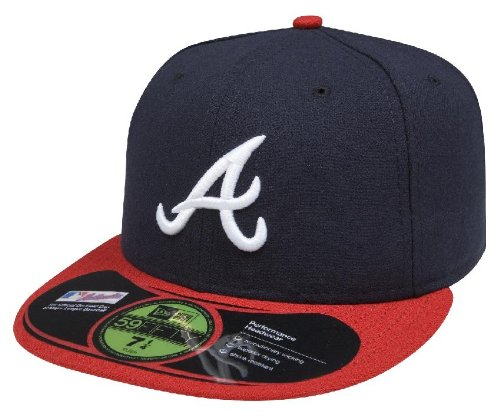 New Era Casquette MLB Home Authentic Collection on Field 59FIFTY, Homme, ACPERF ATLBRA HM, Bleu Marine, 7 1/4
