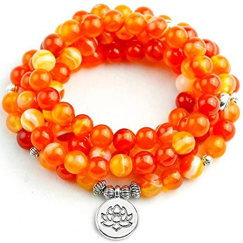 8Mm Raya Naranja Onyx Mala Pulsera Mujeres Lotus Árbol Ala Colgante Collar Unisex 108 Cuentas De Oración Joyería De Piedra Hombres