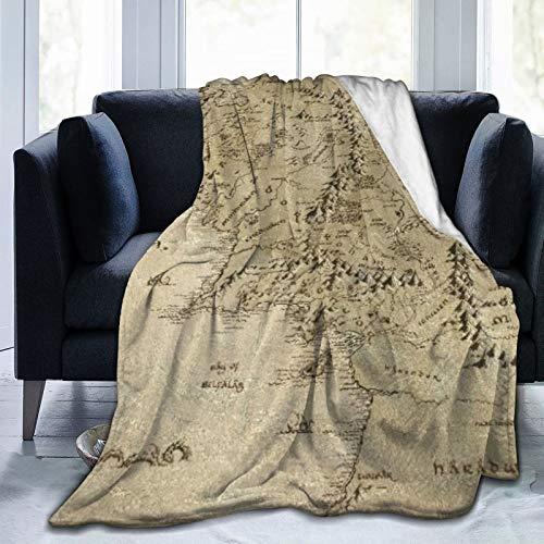 SHENGLIPINK Ultraweiche Micro Fleece Decke,Mittelerde-Karten,Home Decor Warmwurfdecke für Couchbett,60