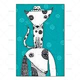 Arte de la pared Animal de dibujos animados Gato Decoración Cartel Pintura de la lona Impresión Decoración del hogar 40X60cm