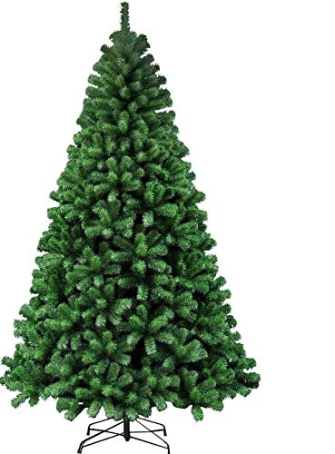 Abaseen 7ft Green Christmas Tree with Metal Stand 1000 tips Bushy thick tree