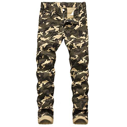 Guapo Jeans Vaqueros Pantalon Pantalones Vaqueros Rectos Ajustados con Estampado De Camuflaje A La Moda para Hombre Stre