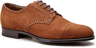 Costoso Italiano Tan Suede Formal Lace Up Derby Goodyear Welted Shoes for Men