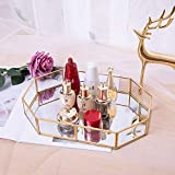 UYTE Gold Vintage Bandeja De Espejo Estilo Nórdico para Maquillaje Cosméticos Joyas Fruit Placa Bandeja Organizador con Espejo Eje De Almacenamiento Tridimensional Decorativo Decorativo