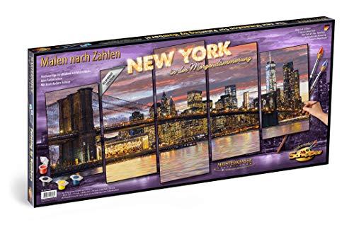 Schipper 609450806 - Malen nach Zahlen - New York in der Morgendämmerung - Bild malen für Erwachsene, inklusive Pinsel und Acrylfarben, 5 Bilder, Meisterklasse Polyptychon - Profi-Edition, 132 x 72 cm