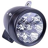Waterproof Metal 7 LED Vintage Scooter Bicycle Light Retro Bike Headlight Front Head Fog Lamp With Mounting Bracket Screw Black