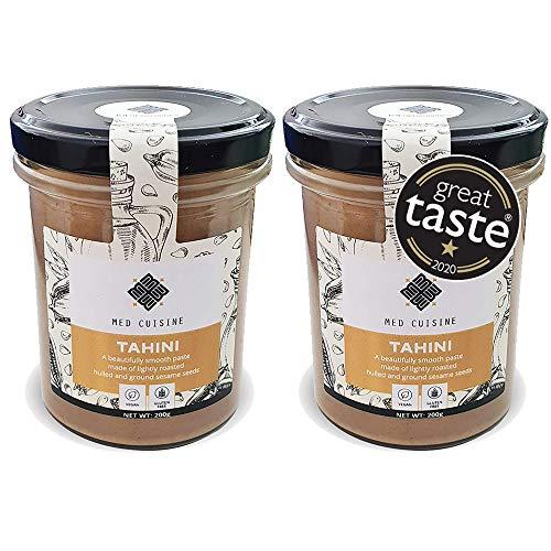 Med Cuisine Tahini – 2X 200gr – Totalmente natural 100% pasta de sésamo con origen de Humera: apto para veganos, sin gluten, sin nueces y kosher