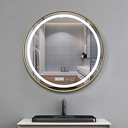 Espejo de baño Demister, redondo, para colgar en la pared, espejo de maquillaje con antivaho + botón táctil + temperatura de tiempo para salón, dormitorio, baño, hotel