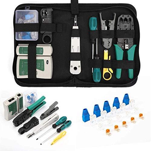 Tokmali - Kit de herramientas de red profesionales, alicates crimpadora RJ45, mantenimiento del ordenador, kit LAN Tester del cable 12 en 1, herramientas de reparación