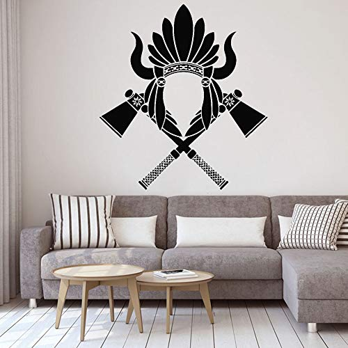 Indian featured muurstickers twee bijl tribal vinyl muurstickers woondecoratie woonkamer verwijderbare kunst sticker retro behang <> 42x49cm
