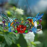 SSLLH Sonnenfänger Kolibri Anhänger hängender Kronleuchter Regenbogenhersteller Ornament für Fenster Sun Catcher Hausgarten Dekoration, Buntglas-Fensterbehang, Vogel-auf-Draht, Hängender Fensterpaneel