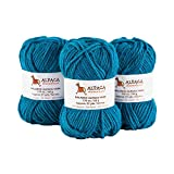 Blend Alpaca Yarn Wool Set of 3 Skeins Bulky Weight Heavenly Soft and Perfect for Knitting and Crocheting (Turquoise Blue, Bulky)