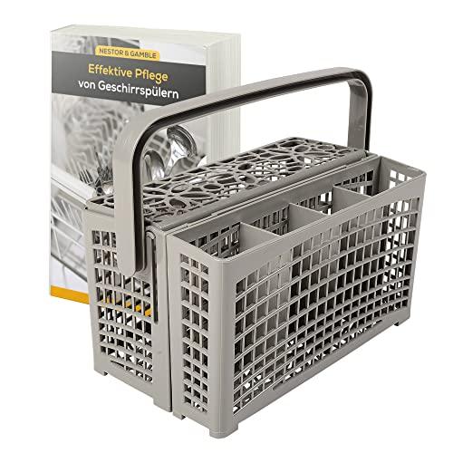 Nestor&Gamble | Universal-Besteckkor mit innovativem 2 in 1 System für ALLE Spülmaschinen + GRATIS E-BOOK | Spülkor für Geschirrspüler mit hitzebeständigem Kunststoff & extra stabilem Bodengitter