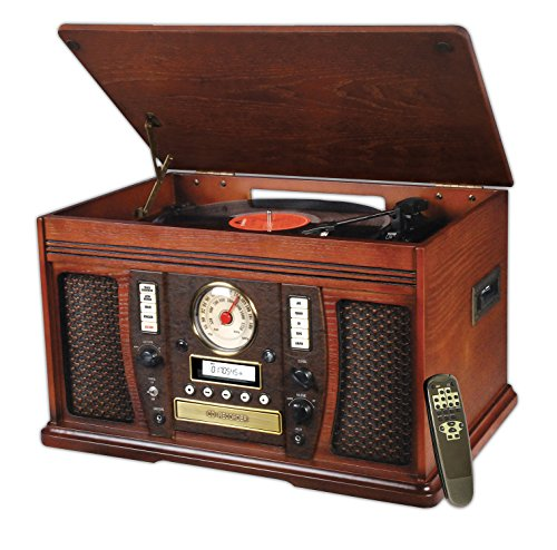 Innovative Technology Nostalgic Wood 6-in-1 Turntable Entertainment Center, Mahogany